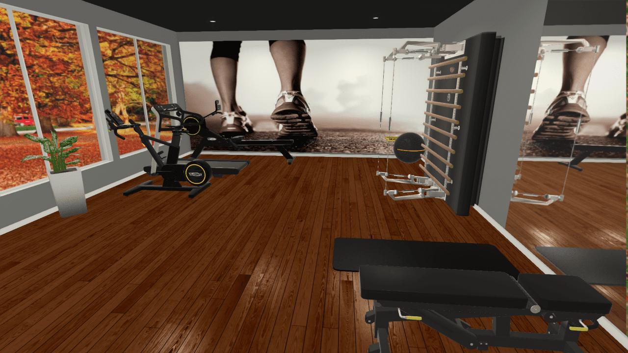 Stort hjemmegym, fullt innredet med alt du trenger av treningsutstyr