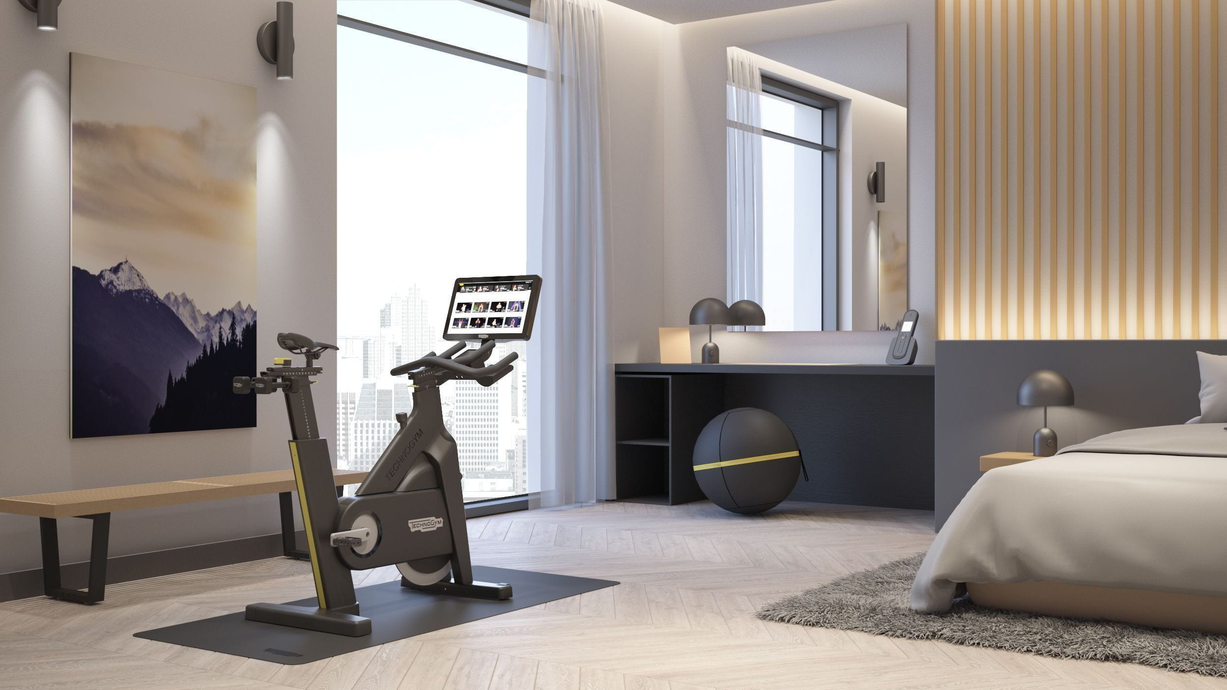 Technogym bike på hotellrommet