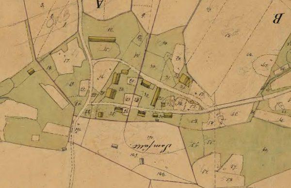 detalj ur laga skifteskarta över Malands by 1858.