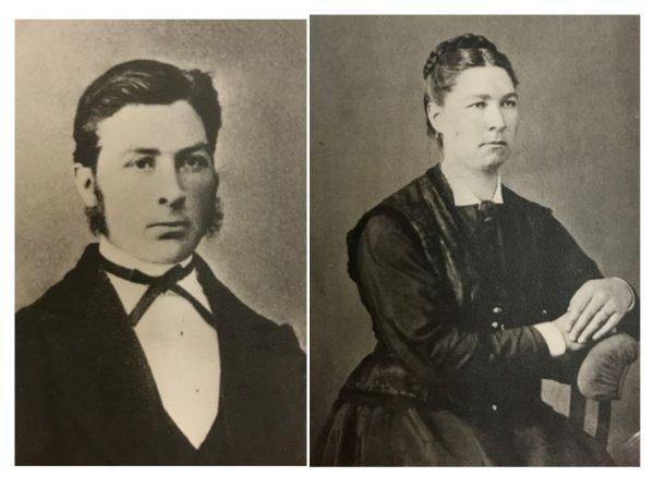 Äldre svartvita porträttfoton på en kvinna och en man