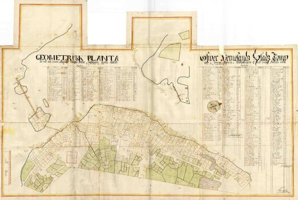 En gammal karta över Härnösand från 1699